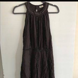 Beautiful designer grey dress with black pipe trim